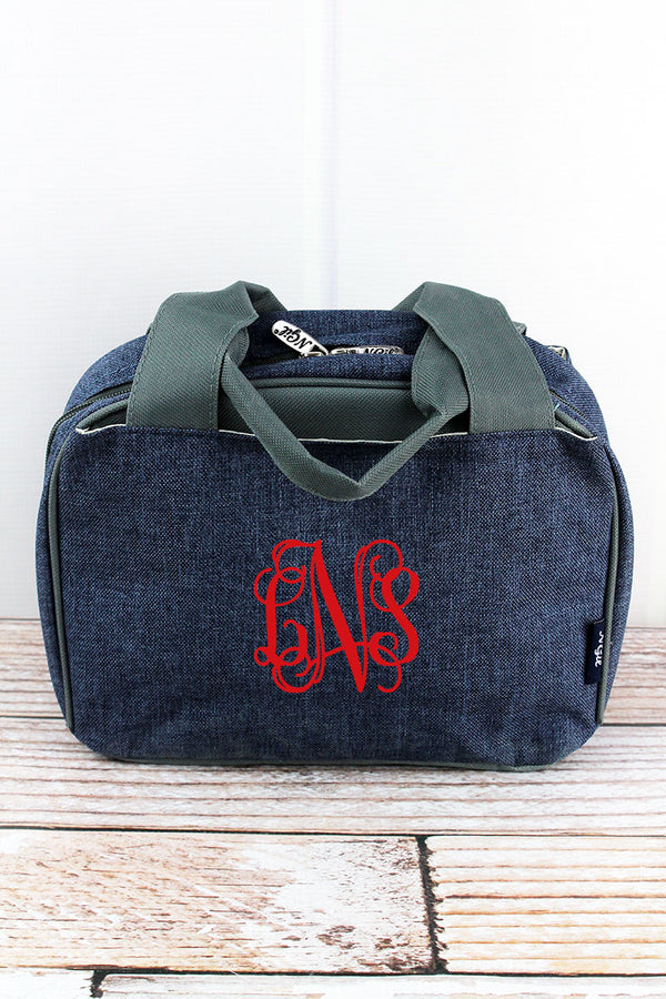 Denim Blue Crosshatch Insulated Bowler Style Lunch Bag