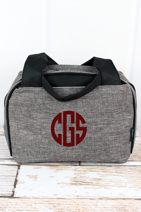 Steel Gray Crosshatch Insulated Bowler Style Lunch Bag