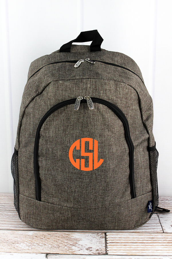 Brown Khaki Crosshatch Large Backpack