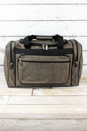 Brown Khaki Crosshatch Duffle Bag with Black Trim 20""