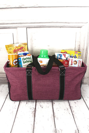 Black Cherry Crosshatch with Black Trim Collapsible Haul-It-All Basket with Mesh Pockets
