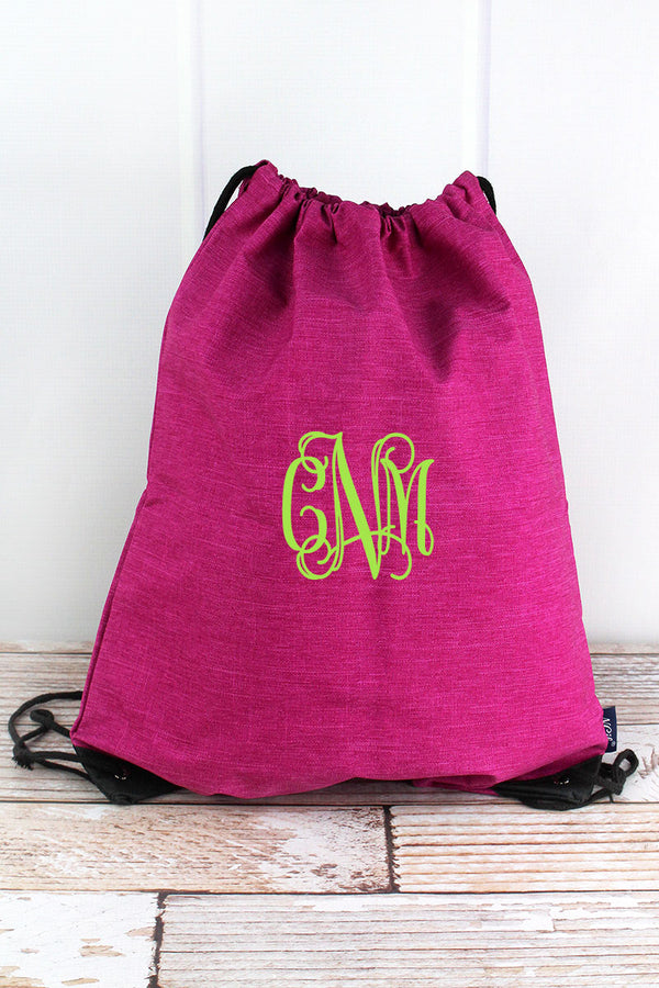 Fuchsia Rose Crosshatch Drawstring Backpack