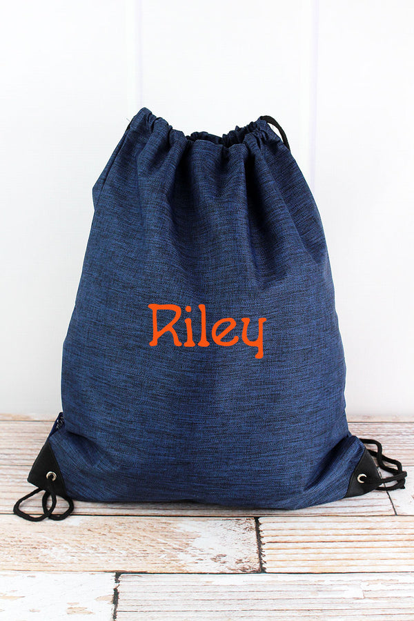 Midnight Navy Crosshatch Drawstring Backpack