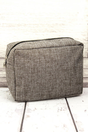 Steel Gray Crosshatch Cosmetic Case