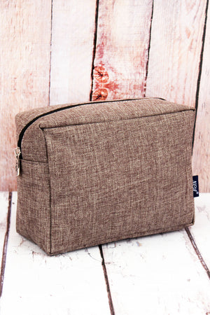 Brown Khaki Crosshatch Cosmetic Case