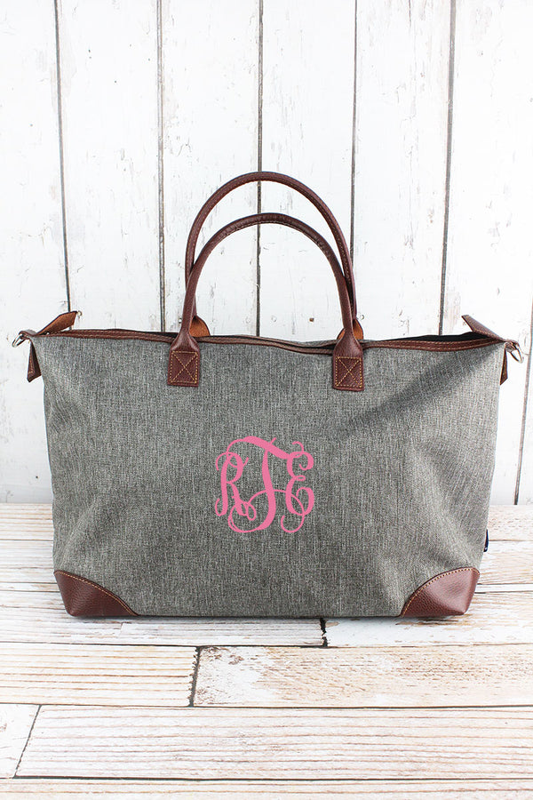 Steel Gray Crosshatch Large Tote Bag