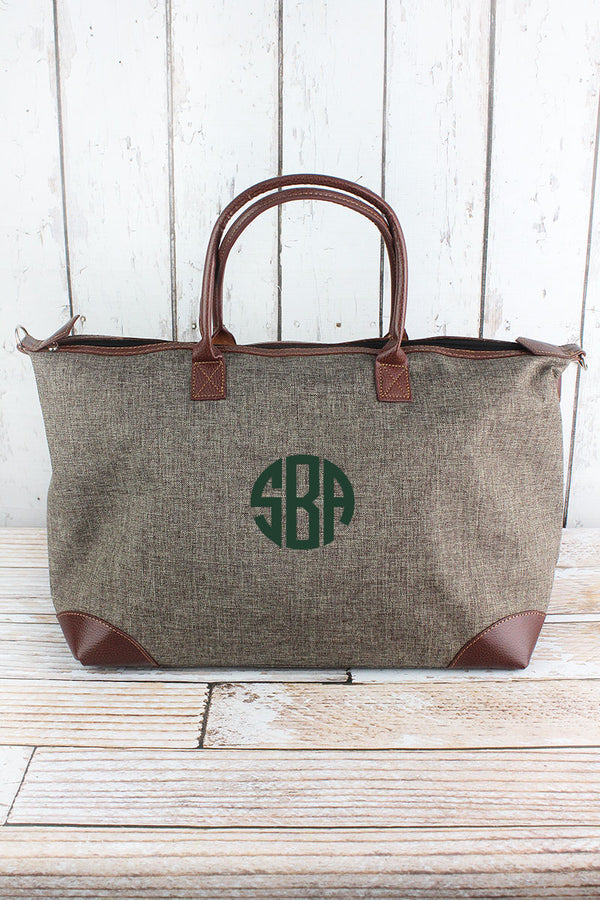 Brown Khaki Crosshatch Large Tote Bag