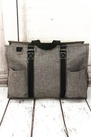 Steel Gray Crosshatch Utility Tote with Black Trim