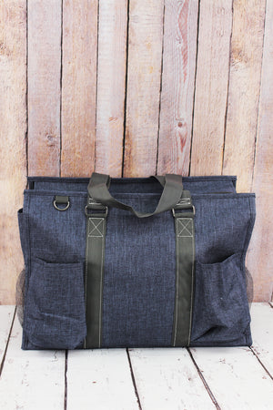 Denim Blue Crosshatch with Gray Trim Large Organizer Tote