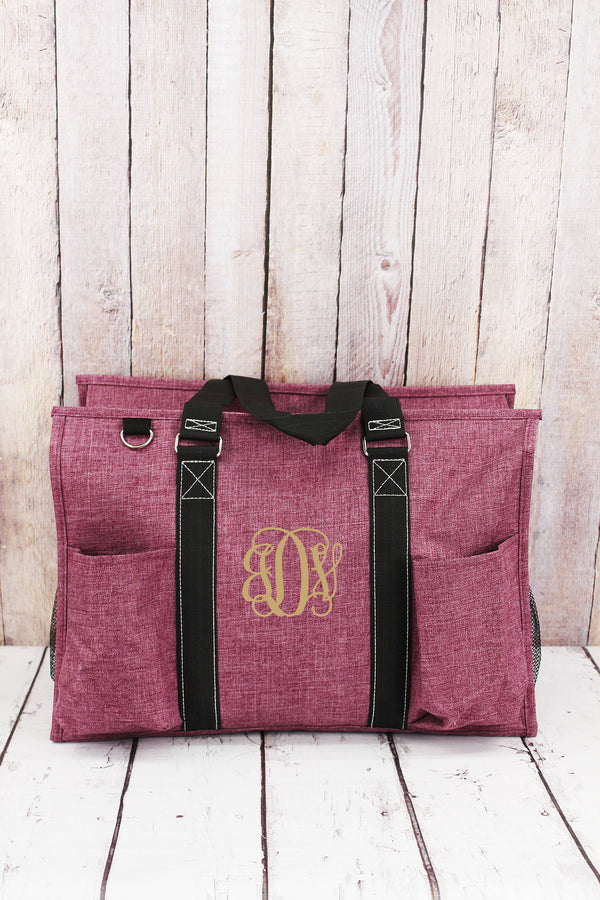 Black Cherry Crosshatch with Black Trim Large Organizer Tote