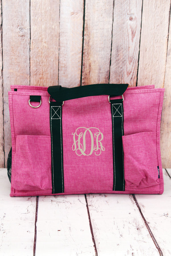 Fuchsia Rose Crosshatch with Black Trim Large Organizer Tote