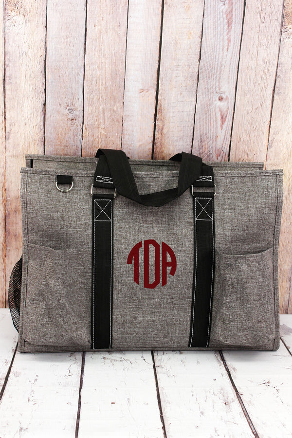Steel Gray Crosshatch with Black Trim Large Organizer Tote