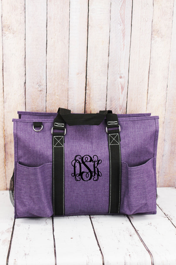 Amethyst Purple Crosshatch with Black Trim Large Organizer Tote