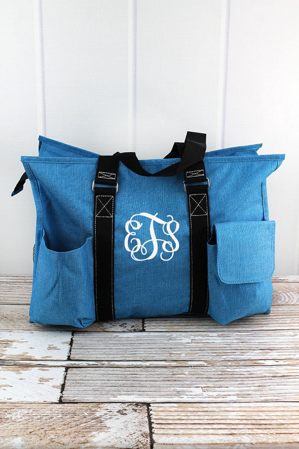 Turquoise Sea Blue Crosshatch with Black Trim Large Organizer Tote