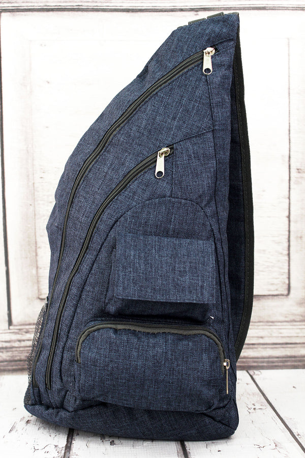 Denim Blue Crosshatch Sling Backpack with Gray Trim