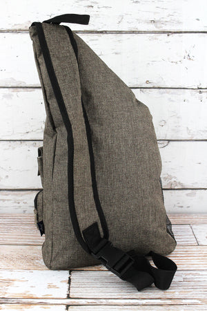 Brown Khaki Crosshatch Sling Backpack with Black Trim