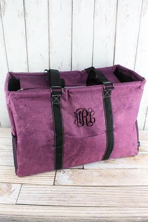 Black Cherry Crosshatch Collapsible Double Haul-It-All Basket with Mesh Pockets and Lid