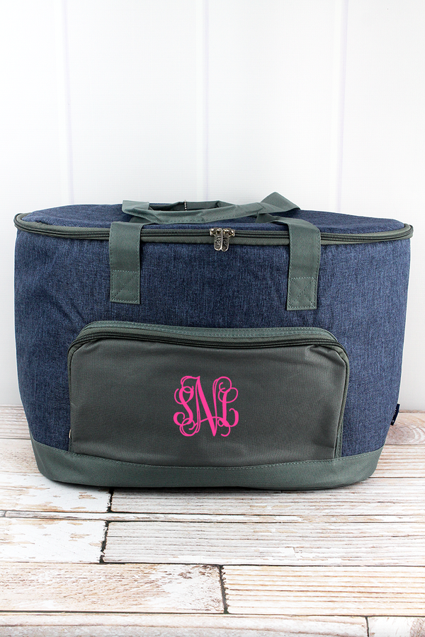 Denim Blue Crosshatch and Moss Gray Cooler Tote with Lid