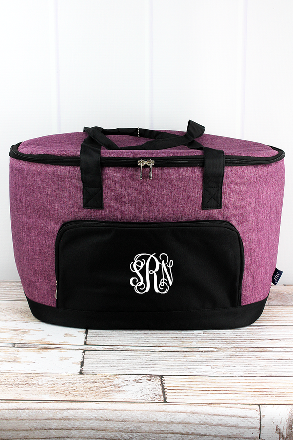 Black Cherry Crosshatch and Black Cooler Tote with Lid
