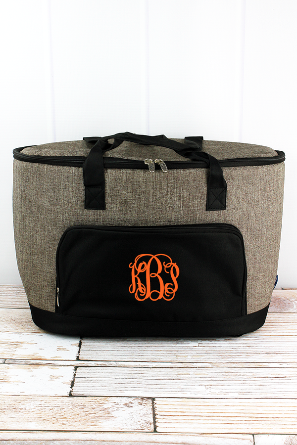 Khaki Brown Crosshatch and Black Cooler Tote with Lid