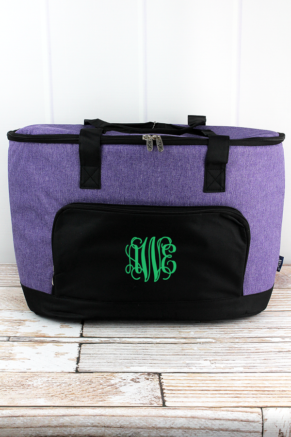 Amethyst Purple Crosshatch and Black Cooler Tote with Lid