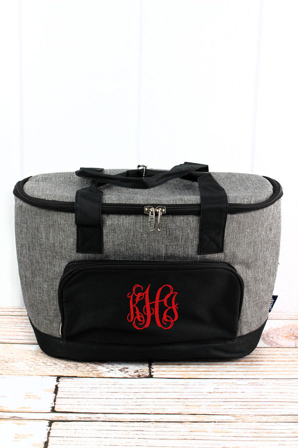 Steel Gray Crosshatch and Black Mini Cooler Tote with Lid