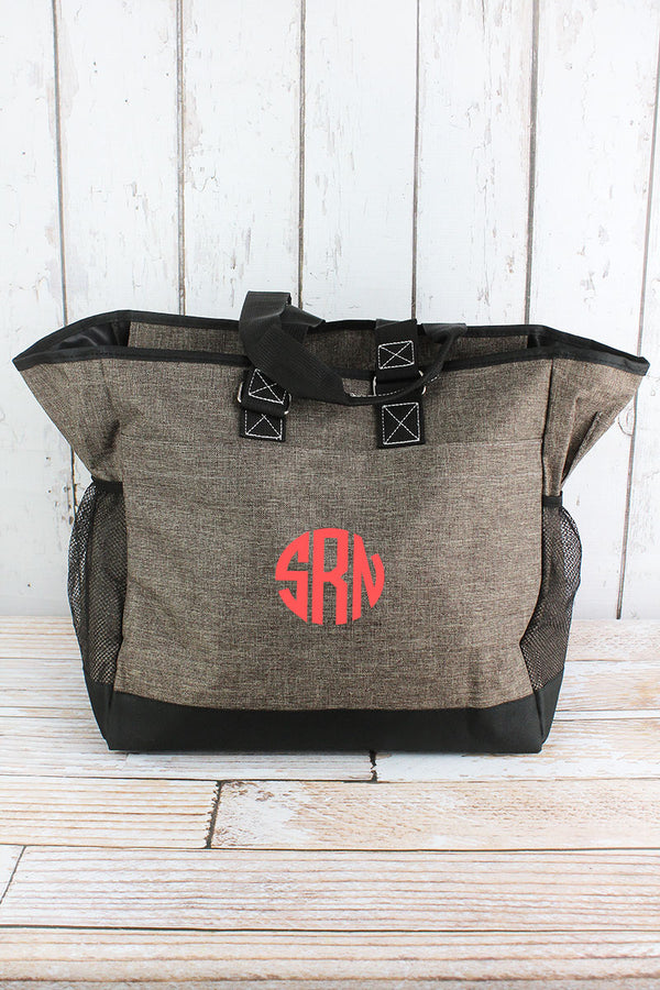 Brown Khaki Crosshatch Everyday Organizer Tote
