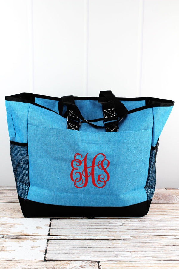 Turquoise Sea Blue Crosshatch Everyday Organizer Tote