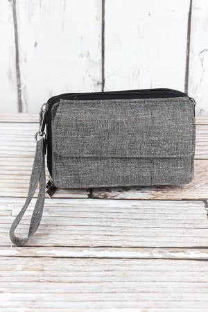 Steel Gray Crosshatch Crossbody Organizer Clutch