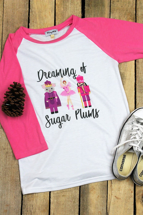 Sugar Plums Kid's 3/4 Sleeve Raglan Tee