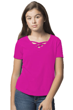 Boxercraft Youth Fuchsia Front Caged Tee