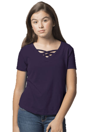 Boxercraft Youth Purple Front Caged Tee