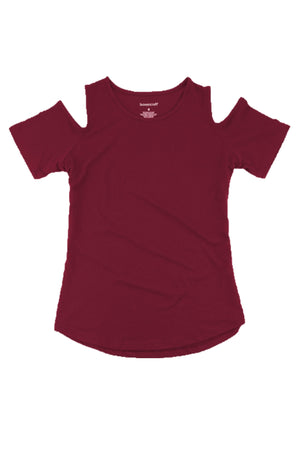 Boxercraft Youth Cold Shoulder Tee, Maroon