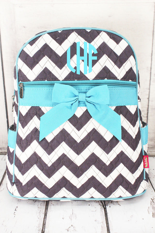 *Gray Chevron Quilted Large Backpack with Aqua Trim #ZIG2828-AQUA