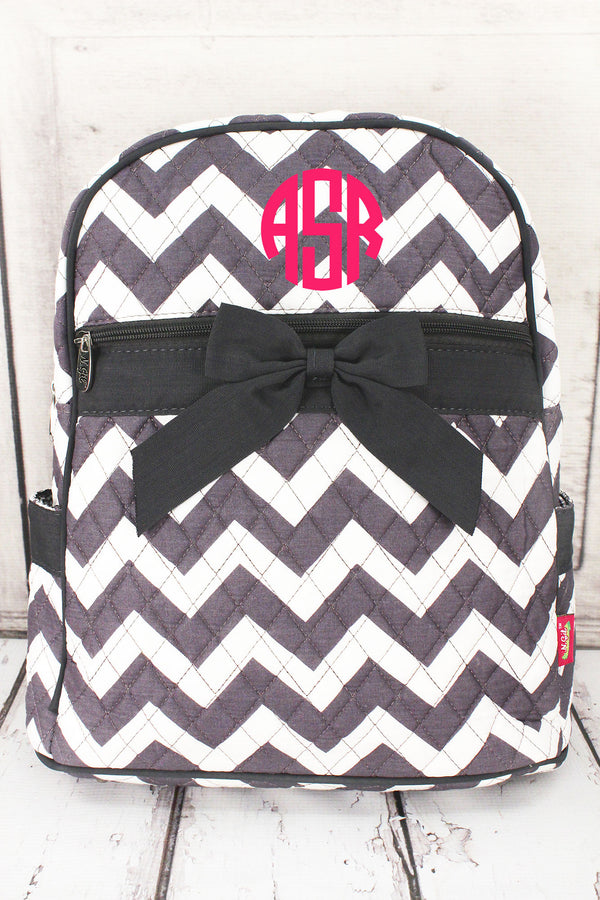 *Gray Chevron Quilted Large Backpack with Gray Trim #ZIG2828-GRAY