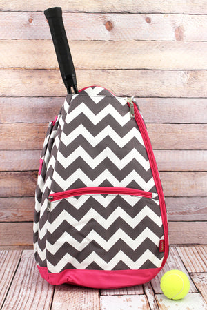 Gray Chevron Tennis Backpack with Hot Pink Trim