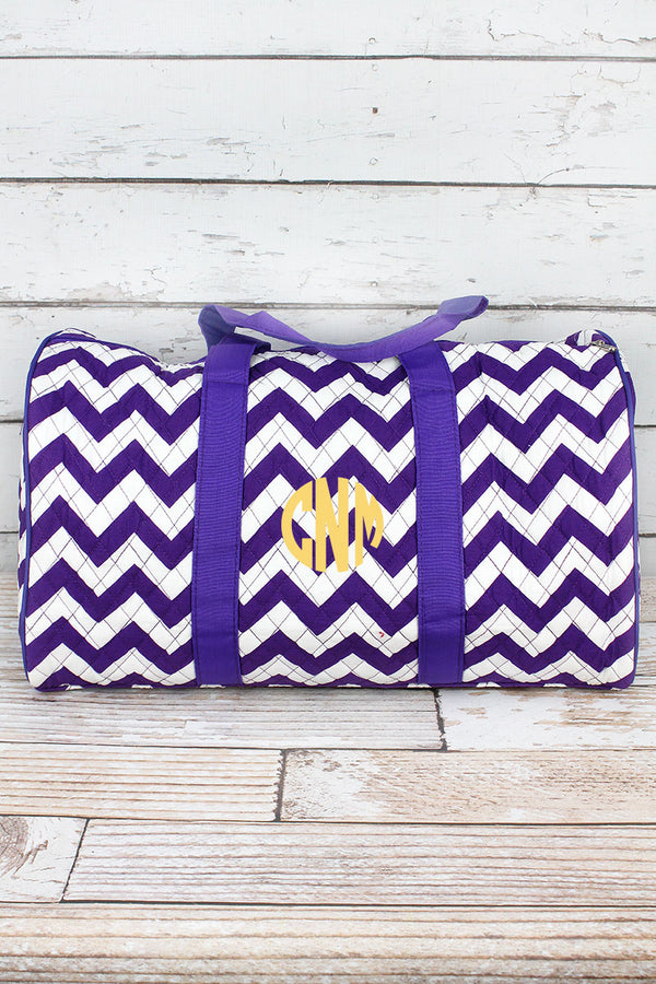 Purple Chevron Quilted Duffle Bag 21""