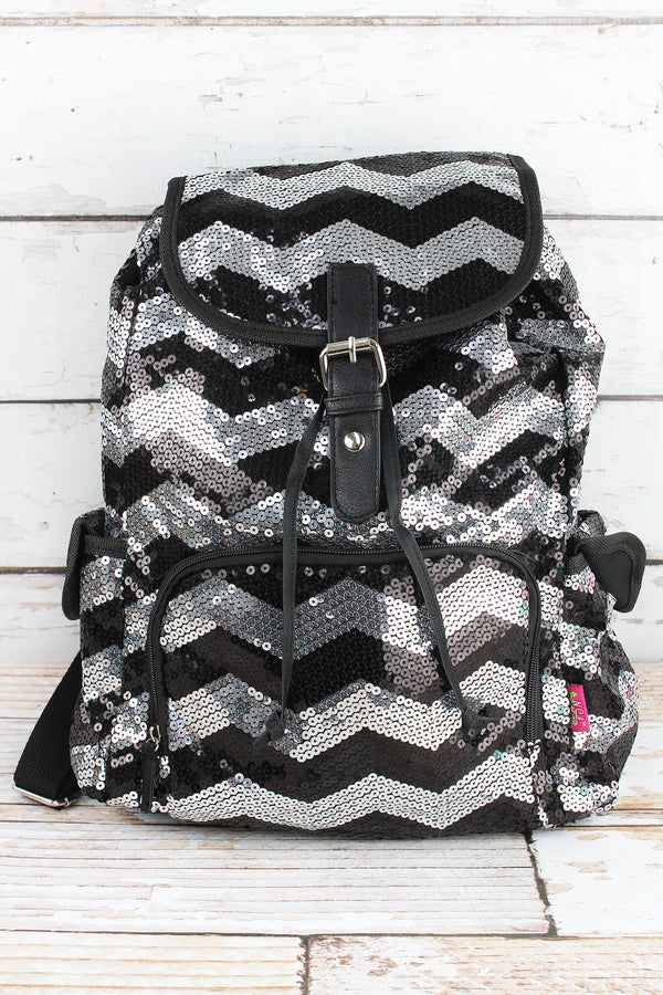 Black Sequined Chevron Large Drawstring Backpack
