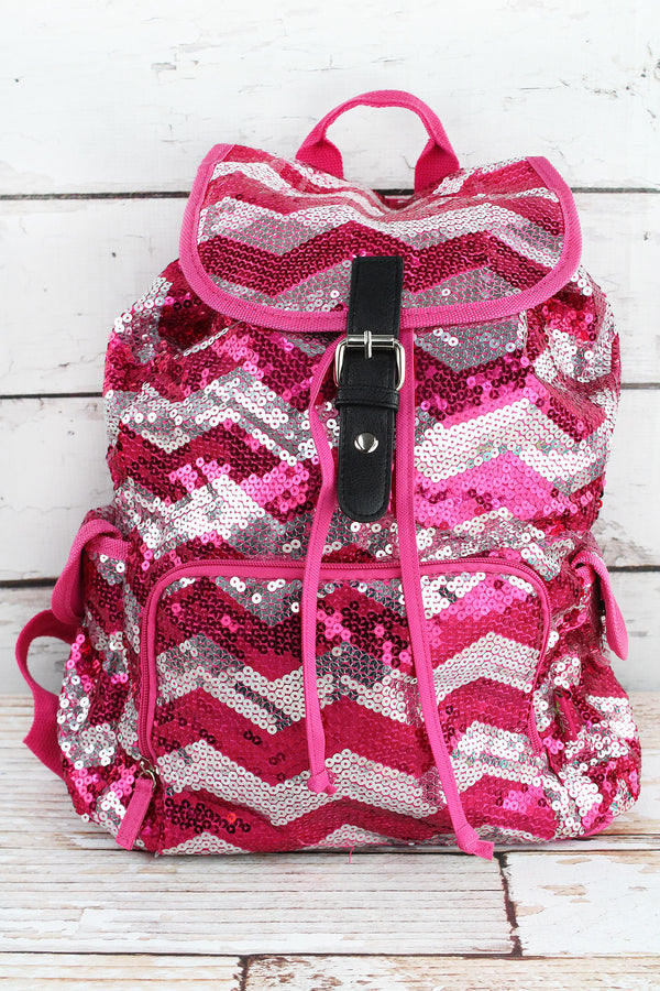 Hot Pink Sequined Chevron Large Drawstring Backpack