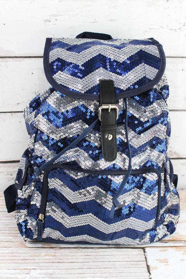 Navy Sequined Chevron Large Drawstring Backpack