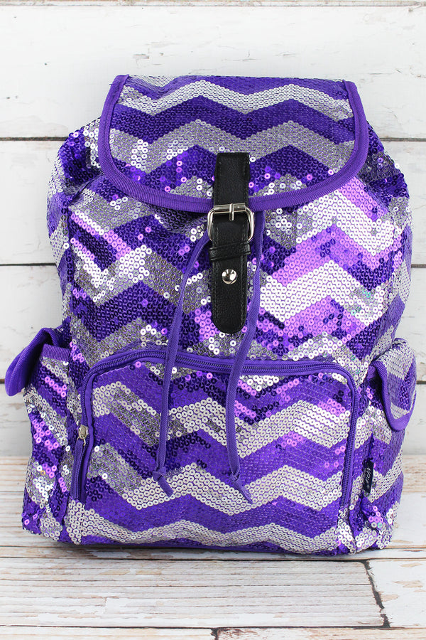 Purple Sequined Chevron Large Drawstring Backpack