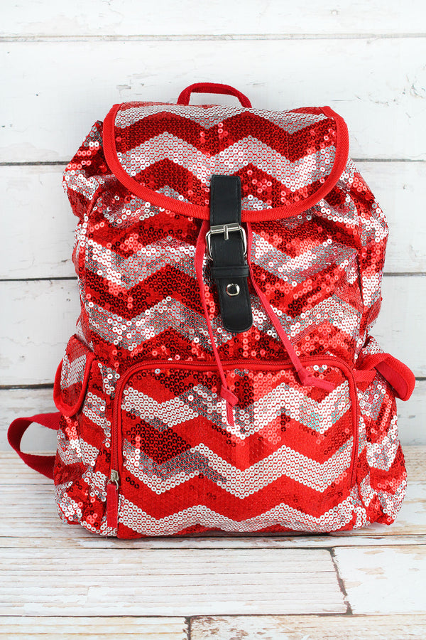 Red Sequined Chevron Large Drawstring Backpack