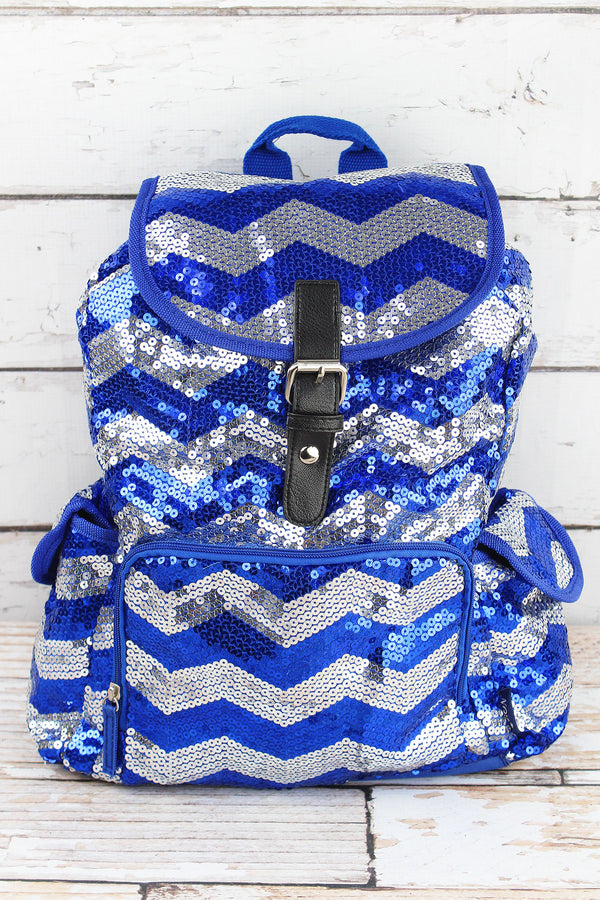 Royal Sequined Chevron Large Drawstring Backpack