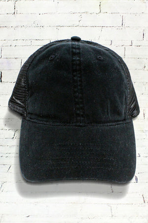 Black Washed Trucker Cap
