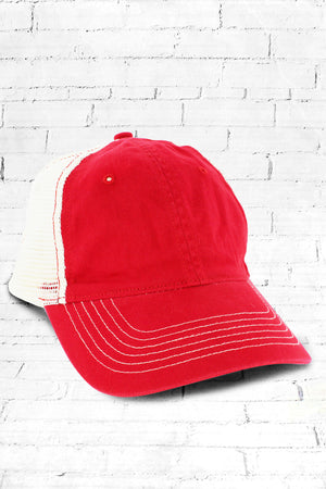 Red Washed Trucker Cap