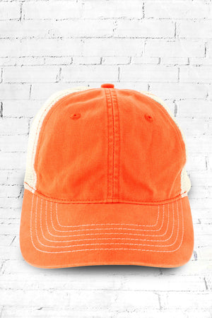 Tangerine Washed Trucker Cap