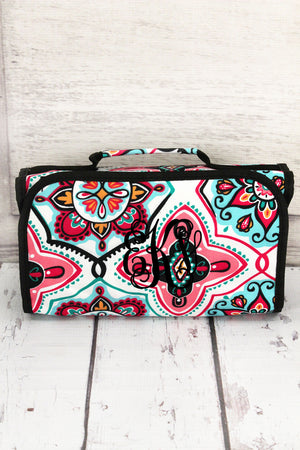 Blissful Garden Roll Up Cosmetic Bag with Black Trim #ZMA729-BLACK