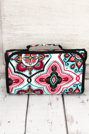 Blissful Garden Roll Up Cosmetic Bag with Black Trim