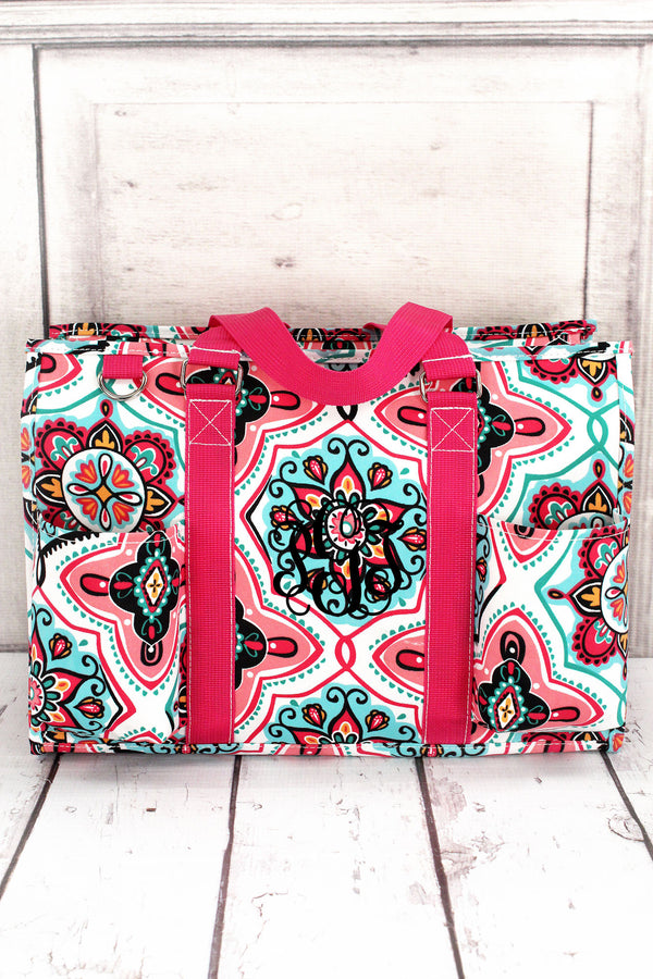 Blissful Garden Utility Tote with Hot Pink Trim #ZMA731-HPINK