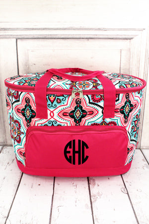 Blissful Garden and Hot Pink Cooler Tote with Lid #ZMA89-HPINK